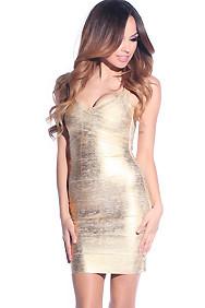 Sexy Shiny Gold Bandage Dress