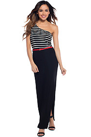 Sexy Black and White One Shoulder Stripe Maxi Dress