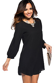 Flowy Black Long Sleeved Shift Dress