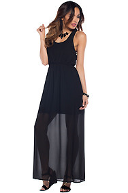Cute Black Simple Semi Sheer Maxi Dress
