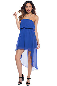 Royalty Royal Blue Tube Hi-Low Mid Maxi Dress