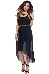 """Leona"" Black Simple Belted High Low Maxi Dress"