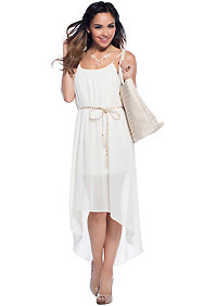 """Leona"" Pale Nude Simple Belted High Low Maxi Dress"