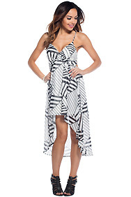 The Bailee Abstract White and Black Hi-Lo Maxi Dress