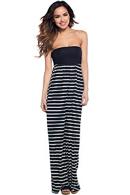 Round n Round Black & White Stripe Maxi Dress