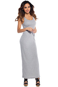 Back to Basic's Grey Jersey Racerback Maxi Dress