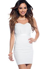 The Caroline White Sweet-Heart Bust Line Dress
