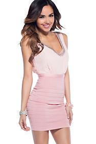 The Madeline Classy Pink Beaded V-Neck Chiffon Bandage Dress