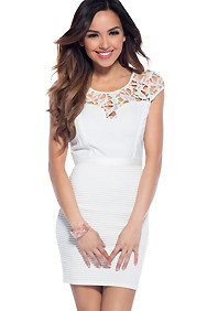 Winter Chic White Dress with Elegant Lace