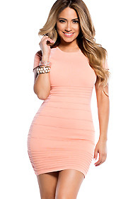 Peach and Pink Short Sleeve Bandage Bodycon Dress