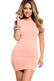 Peach Short Sleeve Bandage Bodycon Dress