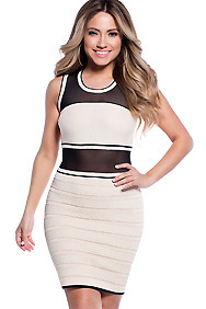 Nude with Black Mesh Striking Bandage Bodycon Dress