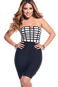 Black and White Strapless Tube Top Bandage Dress
