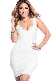 Sexy White Sweetheart Neckline Bandage Dress