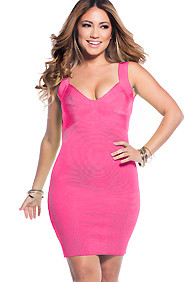 Sexy Pink Sweetheart Neckline Bandage Dress