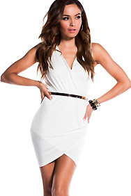Sexy White Wide Strap Sleeveless Cross-Over Dress