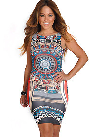 Sexy Slim Fit Multi Color Tribal Print Dress