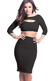 The Cassie Black 2-Piece Midi Skirt and Crop top Set with Oval bust Cut-Out