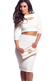 White Half Sleeve Pleated Cut-Out Two Piece Set