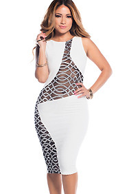 White with Black Mesh Cut-Out Open Back Midi Dress