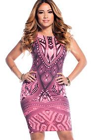 The Ferris Pink and Black Geometric Print Bodycon Sleeveless Midi Dress
