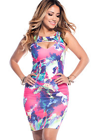 The Picasso Neon Pink and Purple Sleeveless Midi Bodycon with Triangle cut out