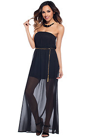 The Aria Black Tube Belted Long Maxi Dress