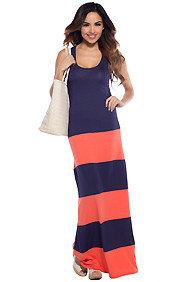 Navy Pier Orange Colorblock Maxi