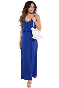 Cute Royal Blue Racerback Maxi Dress