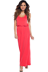 Cute Coral Racerback Maxi Dress