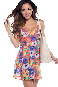 Field of Daisies Multi-Colored Floral Sundress