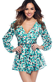 Flirty Teal and Black Long Sleeve Romper