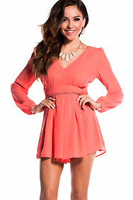 Sheer Coral Long Sleeve Mini Romper With Braided Belt