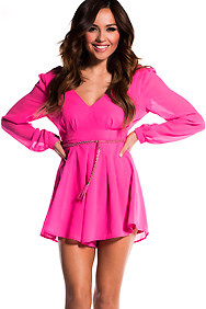 Sheer Hot Fuchsia Long Sleeve Mini Romper with Braided Belt