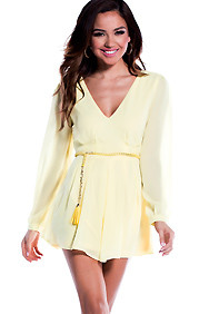 Sheer Pastel Yellow Long Sleeve Mini Romper With Braided Belt