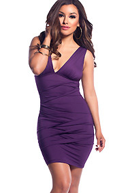 Dark Purple Pleated Deep V-Neck Plunge Dresses