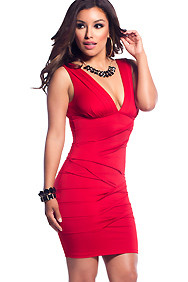 Red Pleated Deep V-Neck Plunge Dress
