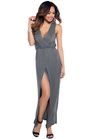 Flirty Gray V-Neckline High Slit Maxi Dress