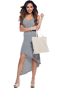 Grey Striped Hi-Low A-Line Maxi