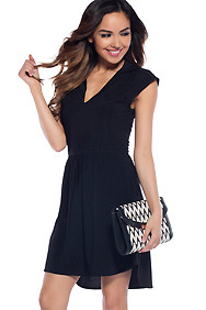 Sweety Black Simple Open-back Dress