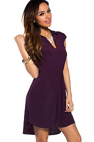 Sweety Purple Simple Collar Open-back Dress