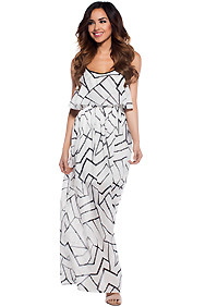 Gia Geometric White Black Maxi Dress
