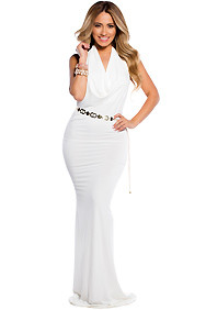 Creamy White Long Drapey Scoop Neck Open Back Gown
