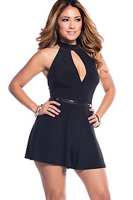 The Carla Black Halter Romper With Plunged Chest