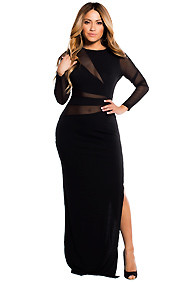 Black Beauty Mesh Long Sleeve Gown