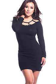The Cameron Black Long Sleeve Studded Collar Dress