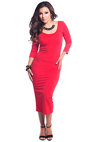 Solid Red Scoop Neck Midi Dress