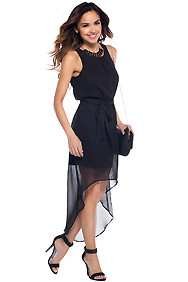 The Tessa Black Key-hole Maxi Hi-Low Dress with matching belt
