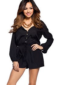 Miami Sexy Deep V Black Romper