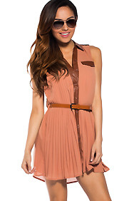 Day Out Pleated Collar Button-Down Belted Dress